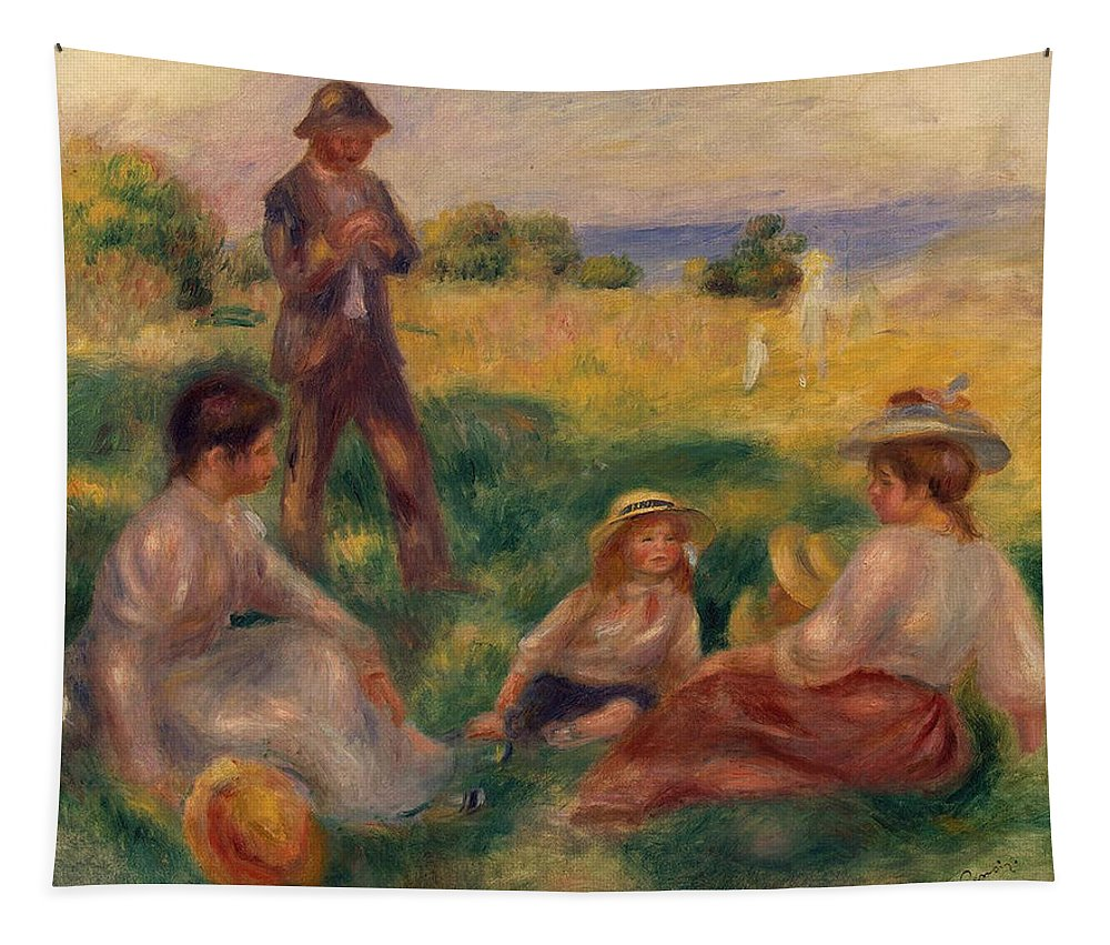 Impressionist; Impressionism; Rural; Countryside; French; Haute-normandie; Normandy; Seated; Leisure; Children; Family Tapestry featuring the painting Party In The Country At Berneval by Pierre Auguste Renoir