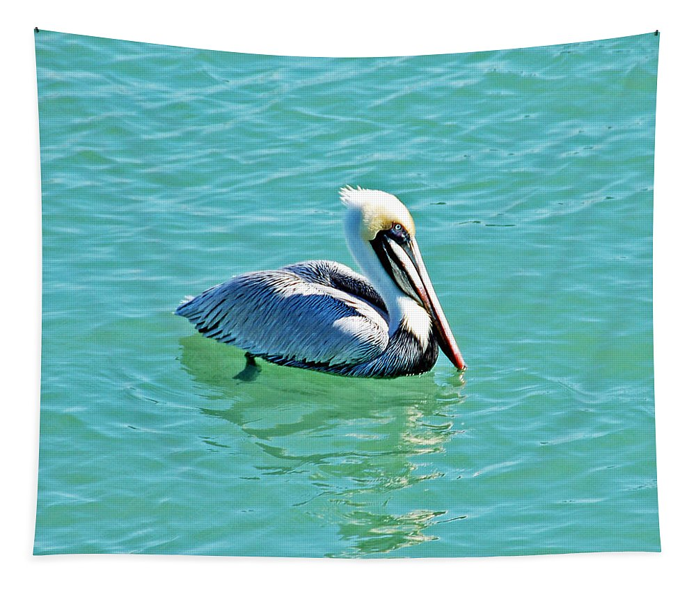 Pelican Tapestry featuring the photograph Pelican Portrait by Aimee L Maher ALM GALLERY