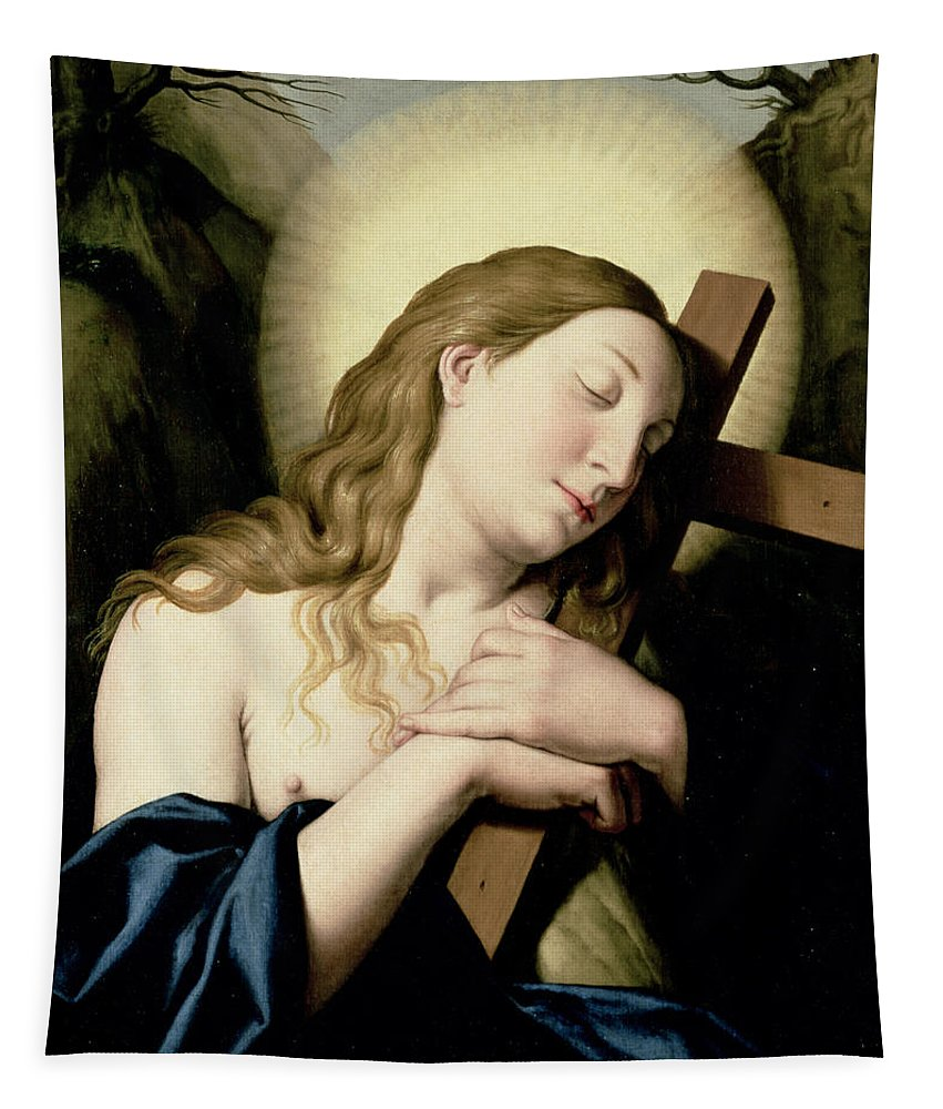 Religion Tapestry featuring the painting Penitent Magdalene by Il Sassoferrato