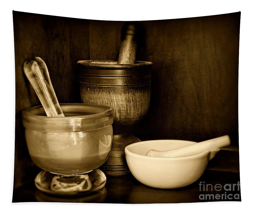 Paul Ward Tapestry featuring the photograph Pharmacy - Mortars And Pestles - Black And White by Paul Ward