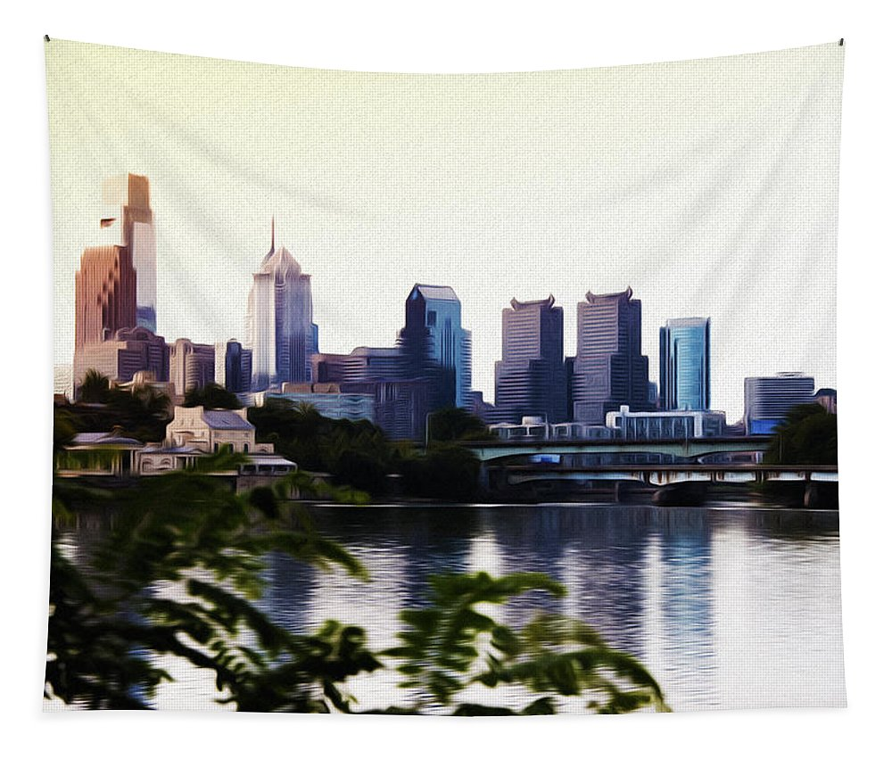 Philadelphia From The Banks Of The Schuylkill River Tapestry featuring the photograph Philadelphia From The Banks Of The Schuylkill River by Bill Cannon