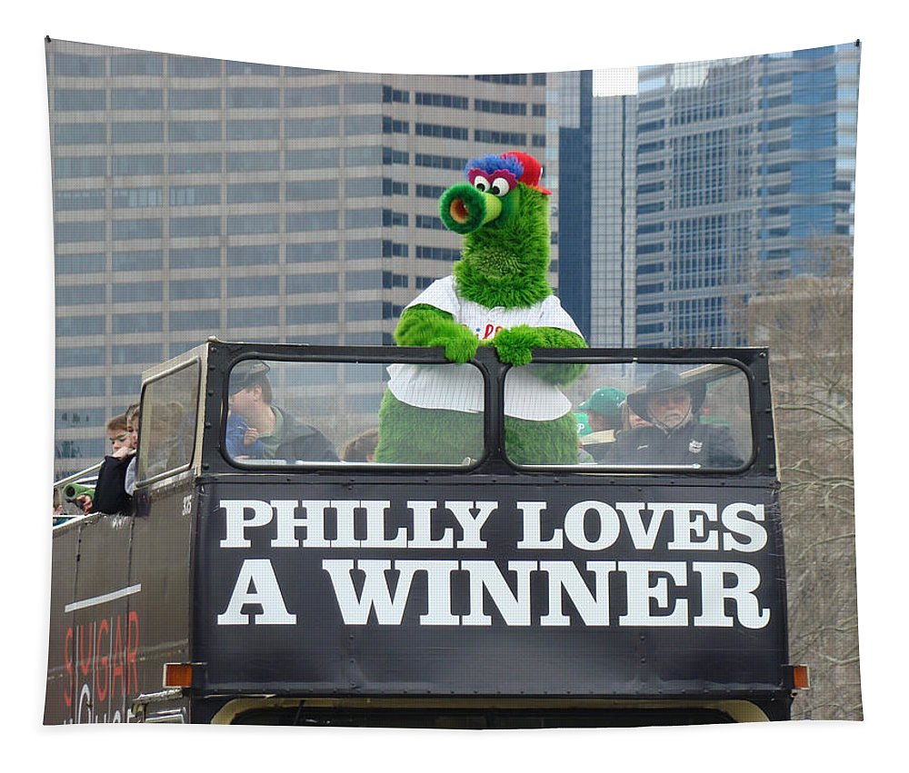 Philly Loves A Winner Bus Parade Phanatic Green City Philadelphia Tapestry featuring the photograph Philly Loves A Winner by Alice Gipson