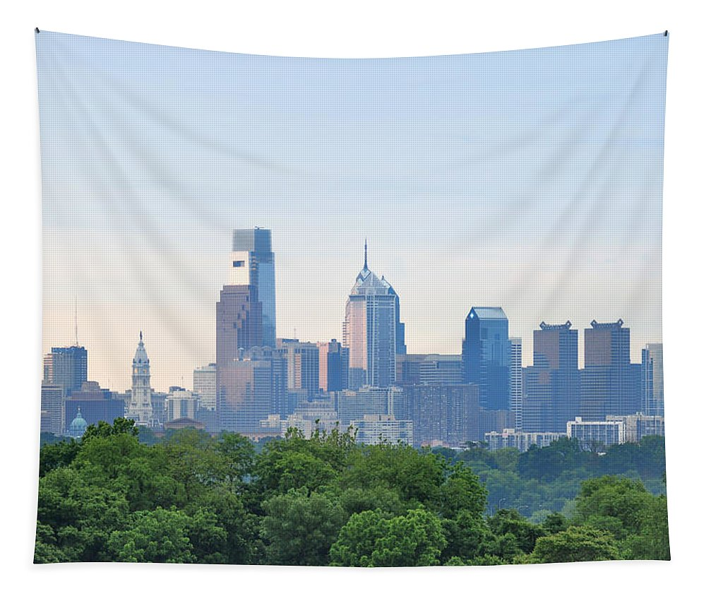 Philly Skyline Tapestry featuring the photograph Philly Skyline by Bill Cannon