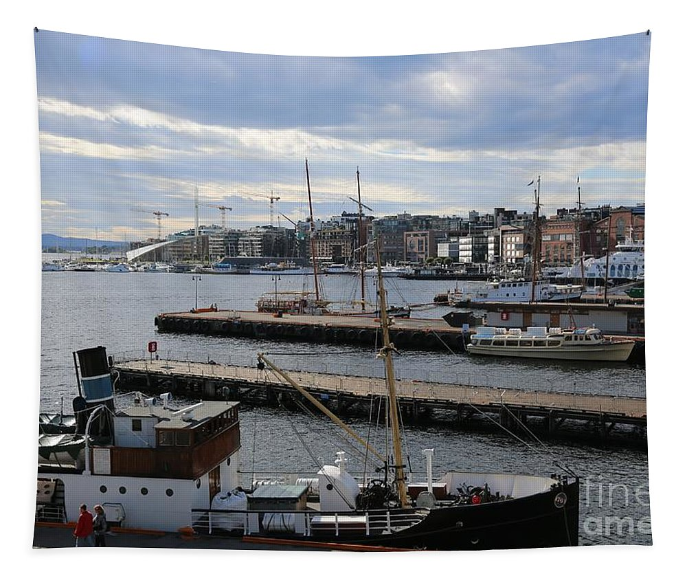 Oslo Tapestry featuring the photograph Piers Of Oslo Harbor by Carol Groenen