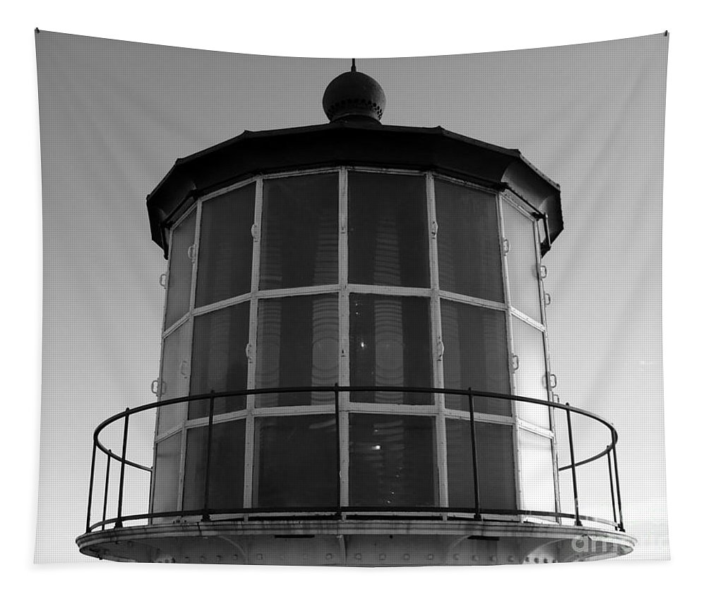 Beacon Tapestry featuring the photograph Pigeon Point Lighthouse Beacon - Black And White by Carol Groenen