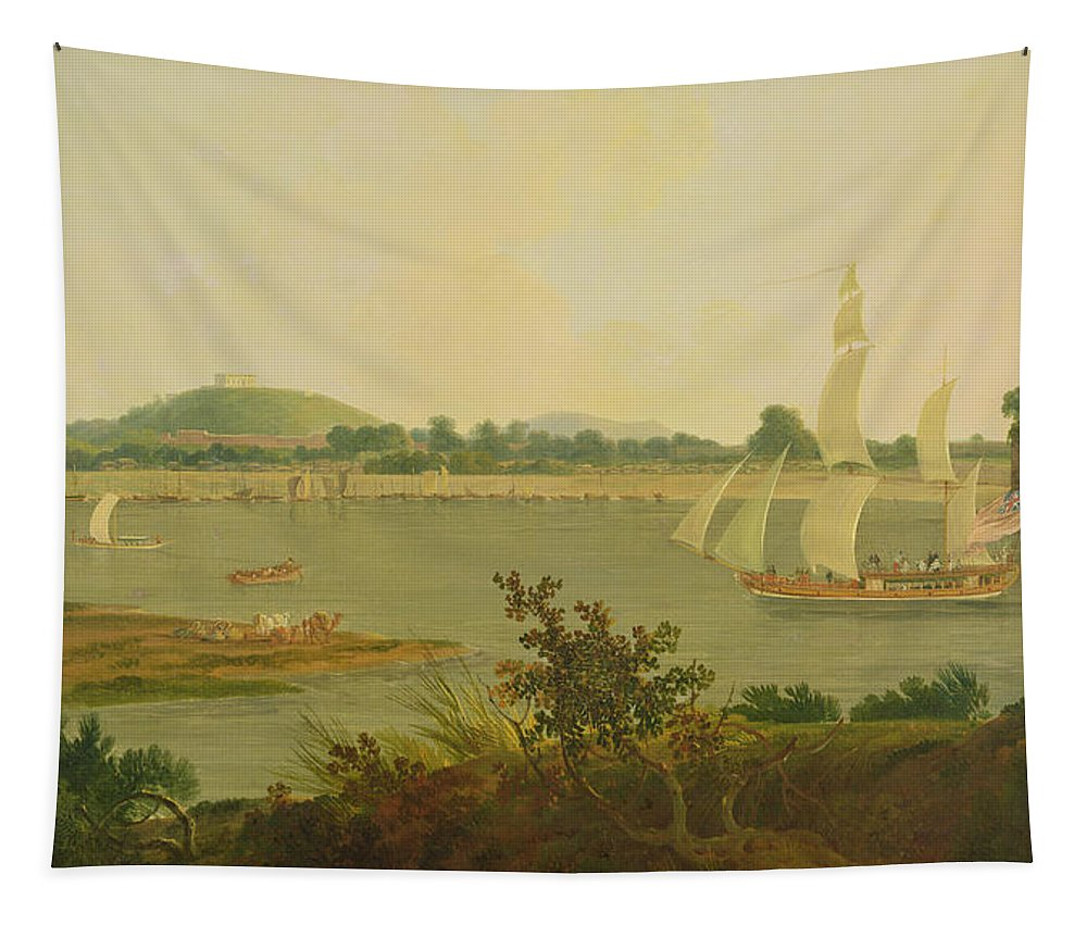 Pinnace Sailing Down The Ganges Past Monghyr Fort Tapestry featuring the painting Pinnace Sailing Down The Ganges Past Monghyr Fort by Thomas Daniell