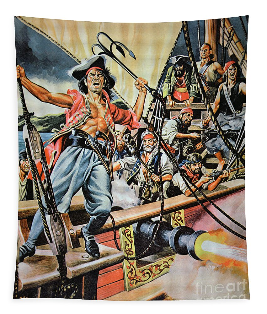 Pirate; Piracy; Buccaneer; Brigand; Contraband; Corrupt; Criminal; Criminals; Illusion; Rogue; Rogues; Outlaw; Capture; Capturing; Traditional Dress; Traditional Costume; Ship; Boat; Grappling Hook; Swarhy; Maritime; Illustration; Attack; Ship; Deck; Fierce; Aggression Tapestry featuring the painting Pirates Preparing To Board A Victim Vessel by American School