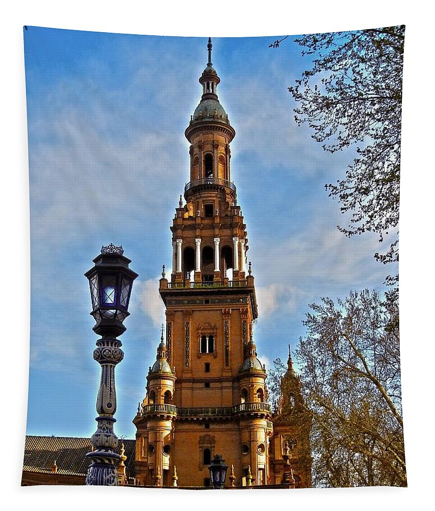 Europe Tapestry featuring the photograph Plaza De Espana - Sevilla by Juergen Weiss
