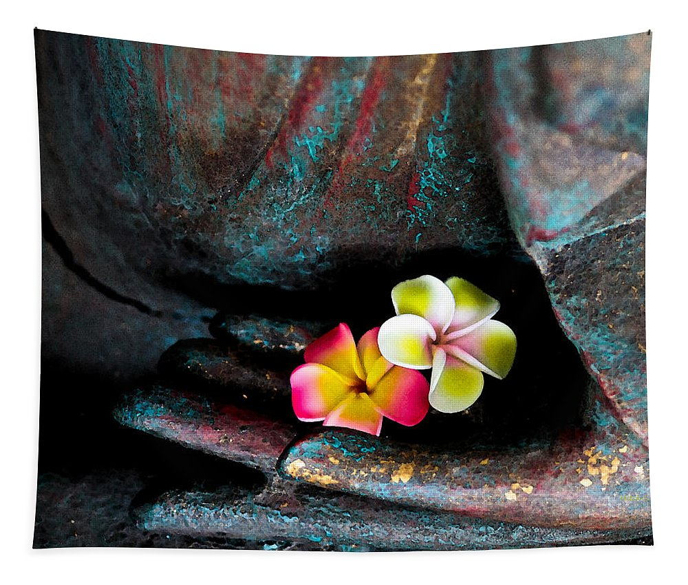 Plumeria Flowers Tapestry featuring the photograph Plumeria Flowers by Mitch Shindelbower