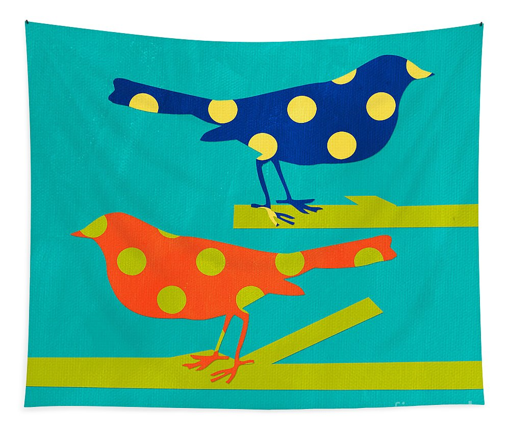 Bird Tapestry featuring the mixed media Polka Dot Birds by Linda Woods