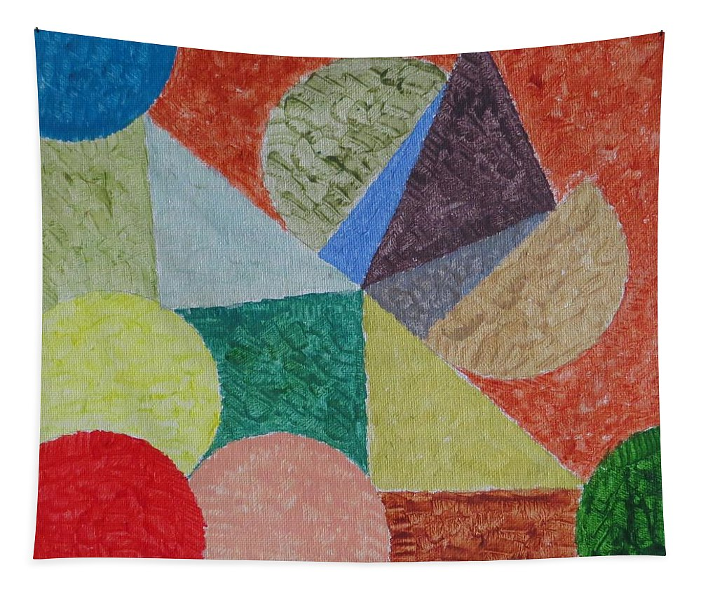 Fusion Of Colours In Shapes Tapestry featuring the painting Polychrome by Sonali Gangane