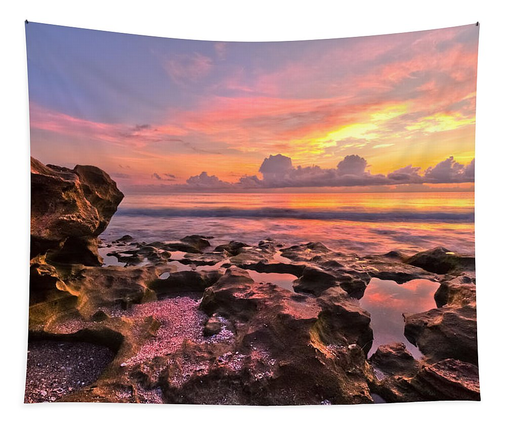 Blowing Rocks Tapestry featuring the photograph Pool Clouds by Debra and Dave Vanderlaan