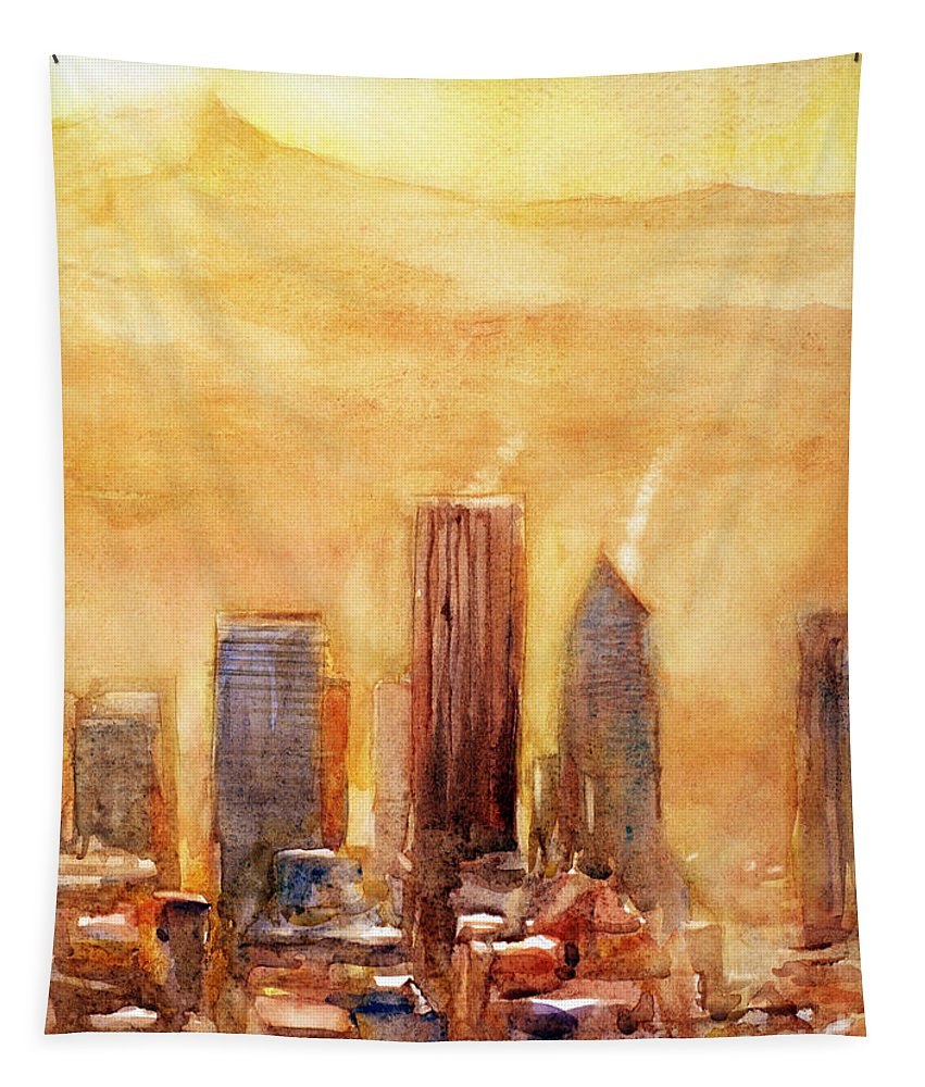 Portland Tapestry featuring the painting Portland Sunrise by Ryan Fox