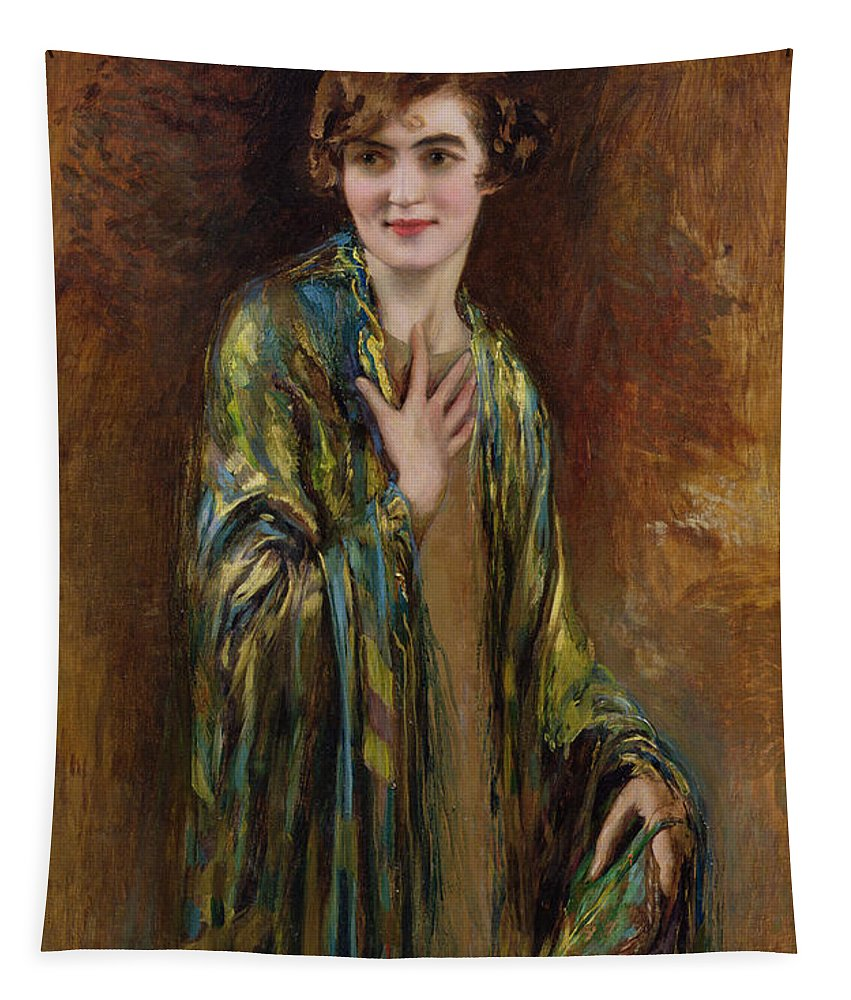 Gg72206 Tapestry featuring the photograph Portrait Of A Girl With A Green Shawl by Isaac Cohen