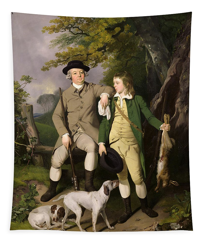 Portrait Tapestry featuring the painting Portrait Of A Sportsman With His Son by Francis Wheatley
