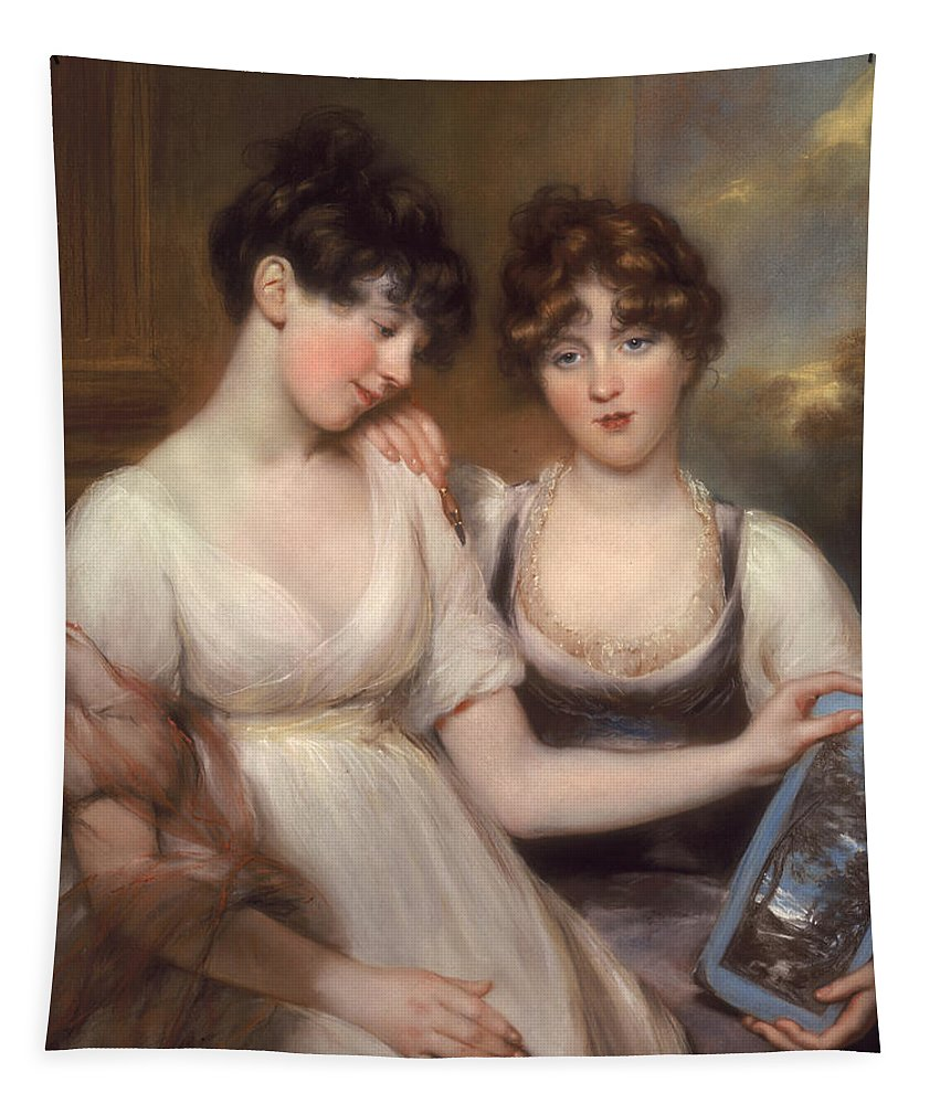 Xyc249797 Tapestry featuring the photograph Portrait Of Anne And Maria Russell by John Russell