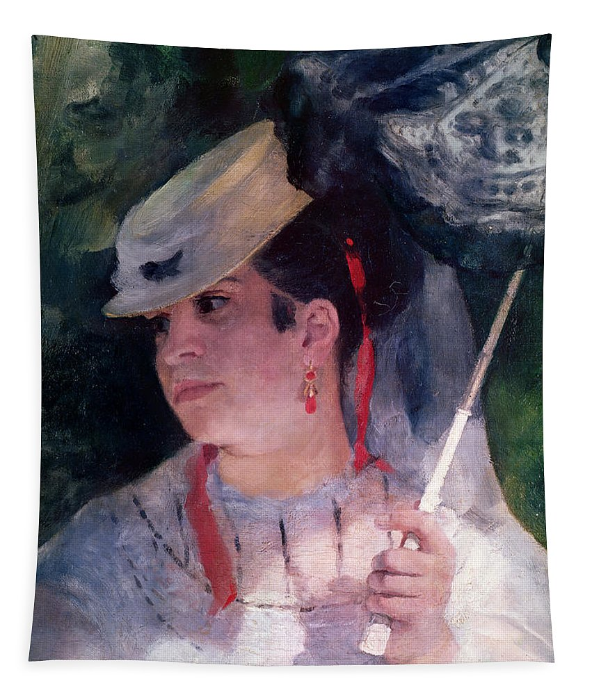 Parasol; White Dress; Female; Impressionist; Lise A L'ombrelle; Detail Du Visage; Hat; Ombrelle; Woman Tapestry featuring the painting Portrait Of Lise by Pierre Auguste Renoir