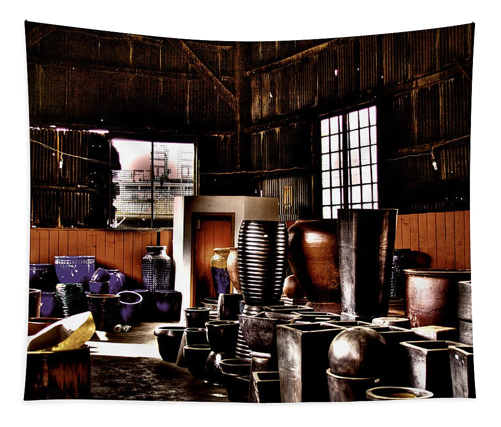 Storage Tapestry featuring the photograph Pottery Storage Building II by David Patterson