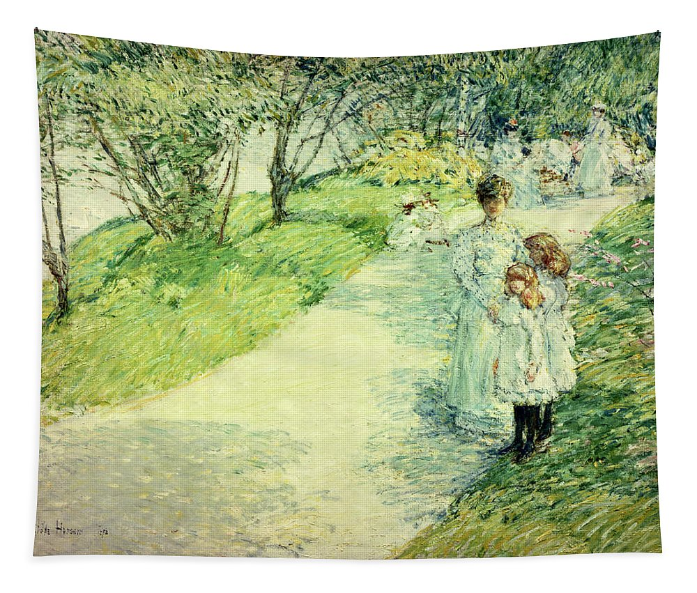 Promenaders In The Garden Tapestry featuring the painting Promenaders In The Garden by Childe Hassam