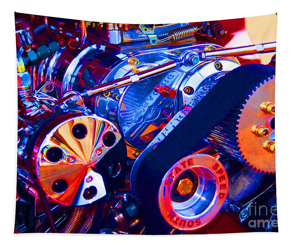 Supercharger Tapestry featuring the photograph Psychodelic Supercharger-1 by Paul W Faust - Impressions of Light
