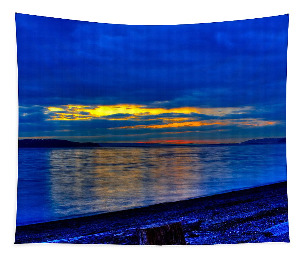 Sunset Tapestry featuring the photograph Puget Sound Reflections by David Patterson