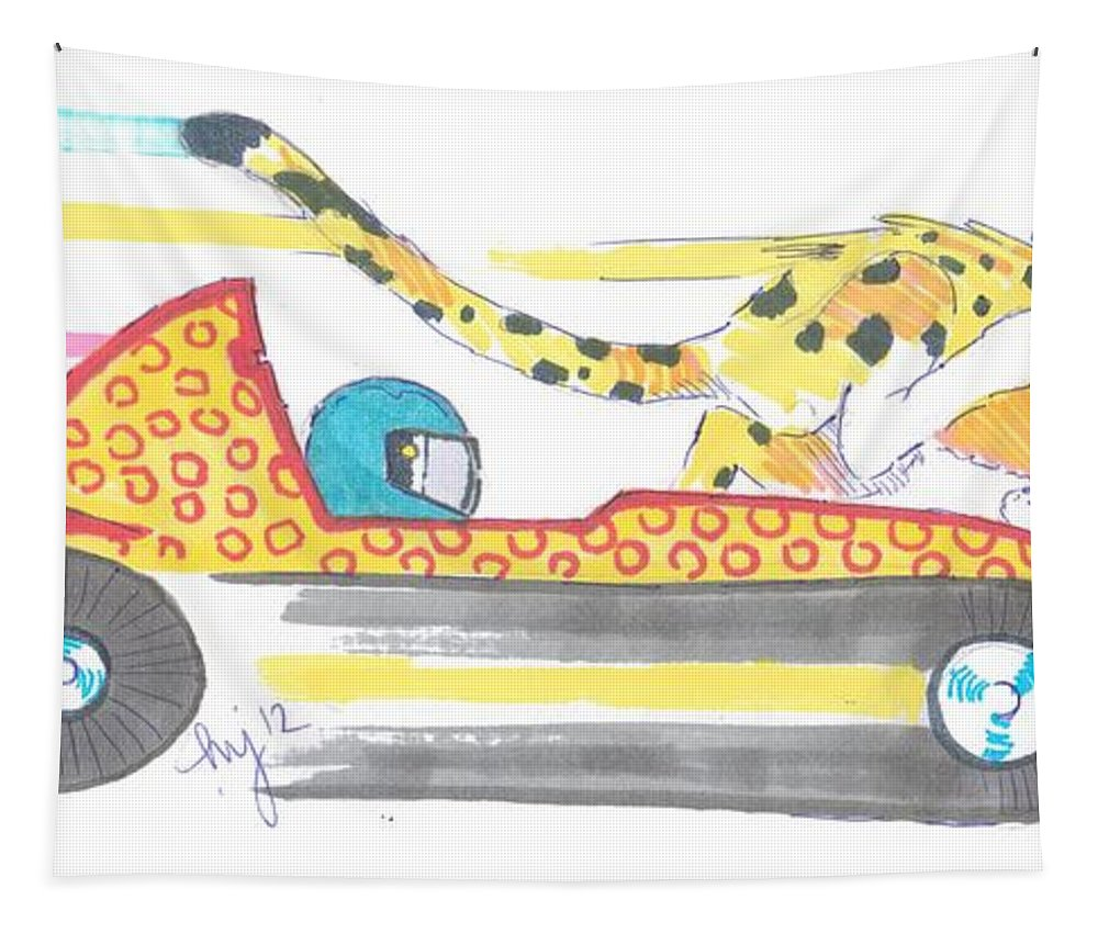 Race Tapestry featuring the drawing Race Car And Cheetah Cartoon by Mike Jory