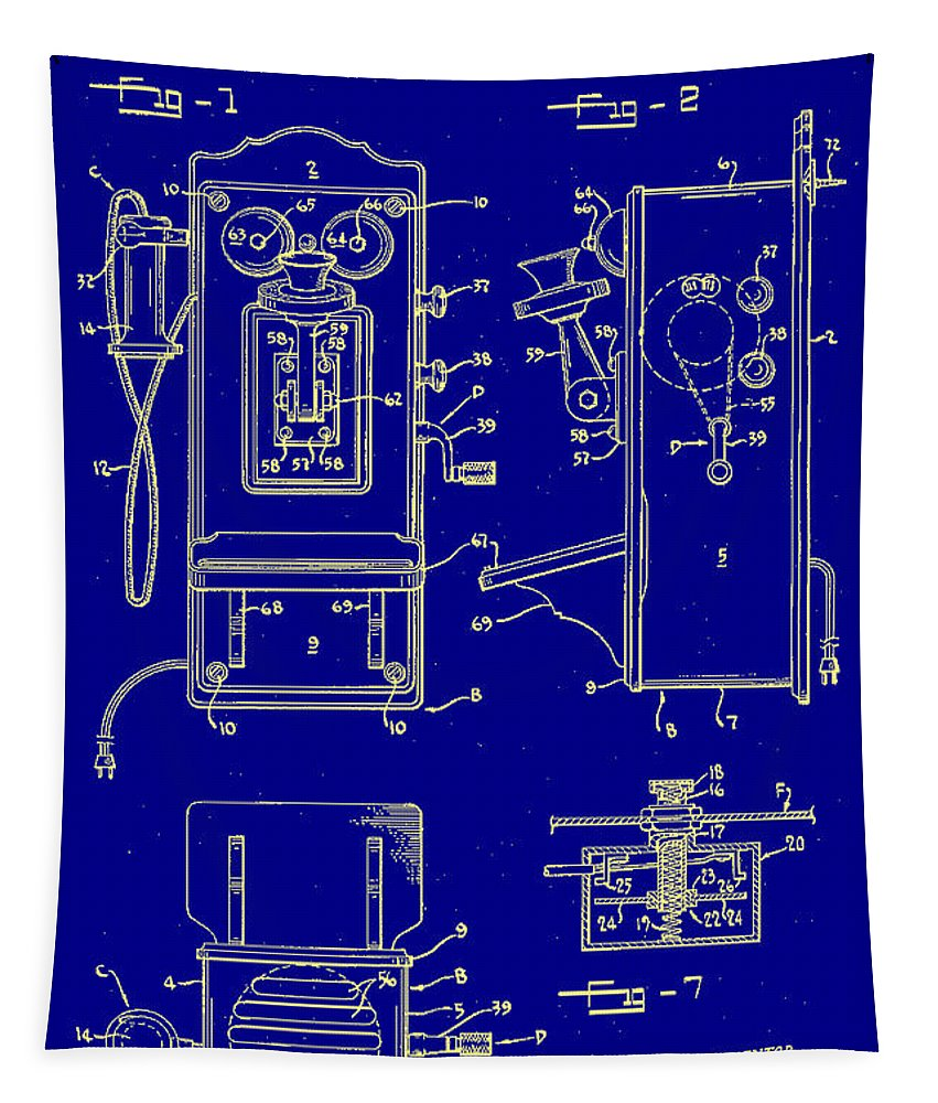 Radio Phone Patent Tapestry featuring the digital art Radio Phone Patent by Bill Cannon