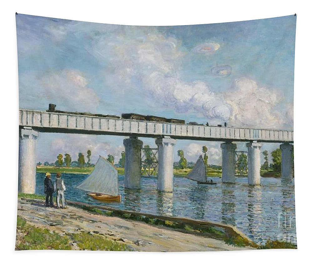French Tapestry featuring the painting Railway Bridge At Argenteuil by Claude Monet