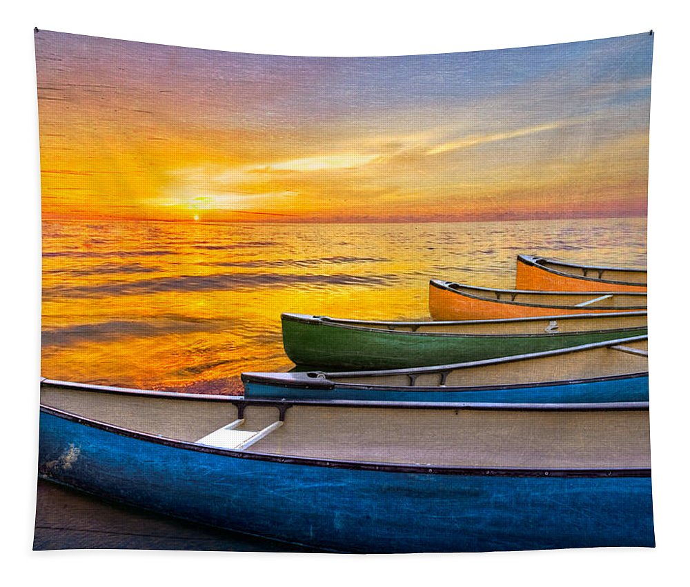 Boats Tapestry featuring the photograph Rainbow Armada by Debra and Dave Vanderlaan