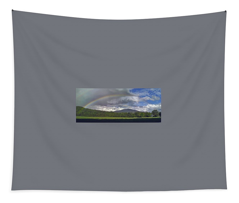 Vermont Tapestry featuring the photograph Rainbow Frames Ascutney Mountain by Nancy Griswold