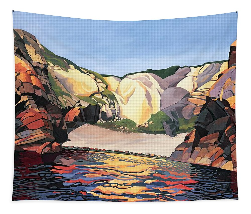 Cove; Bay; Pembrokeshire; Welsh Landscape; Cliffs; Cliff; Rocky; Sea; Seaside; Coast; Coastal; Geographical; Rock Formation; Geography; Small Beach; Reflection; Ramsey Island; Island; Land; Beach; Welsh Tapestry featuring the painting Ramsey Island - Land And Sea No 2 by Anna Teasdale