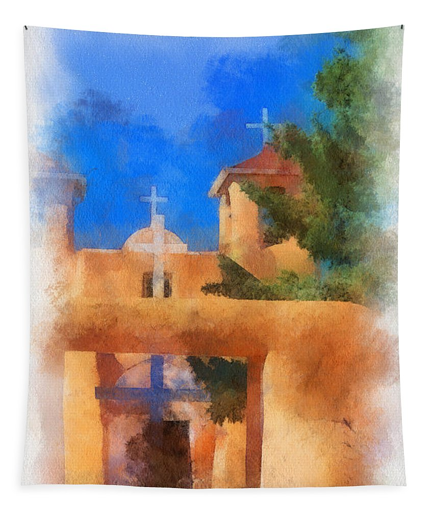 Ranchos Tapestry featuring the digital art Ranchos Church Gate - Aquarell by Charles Muhle