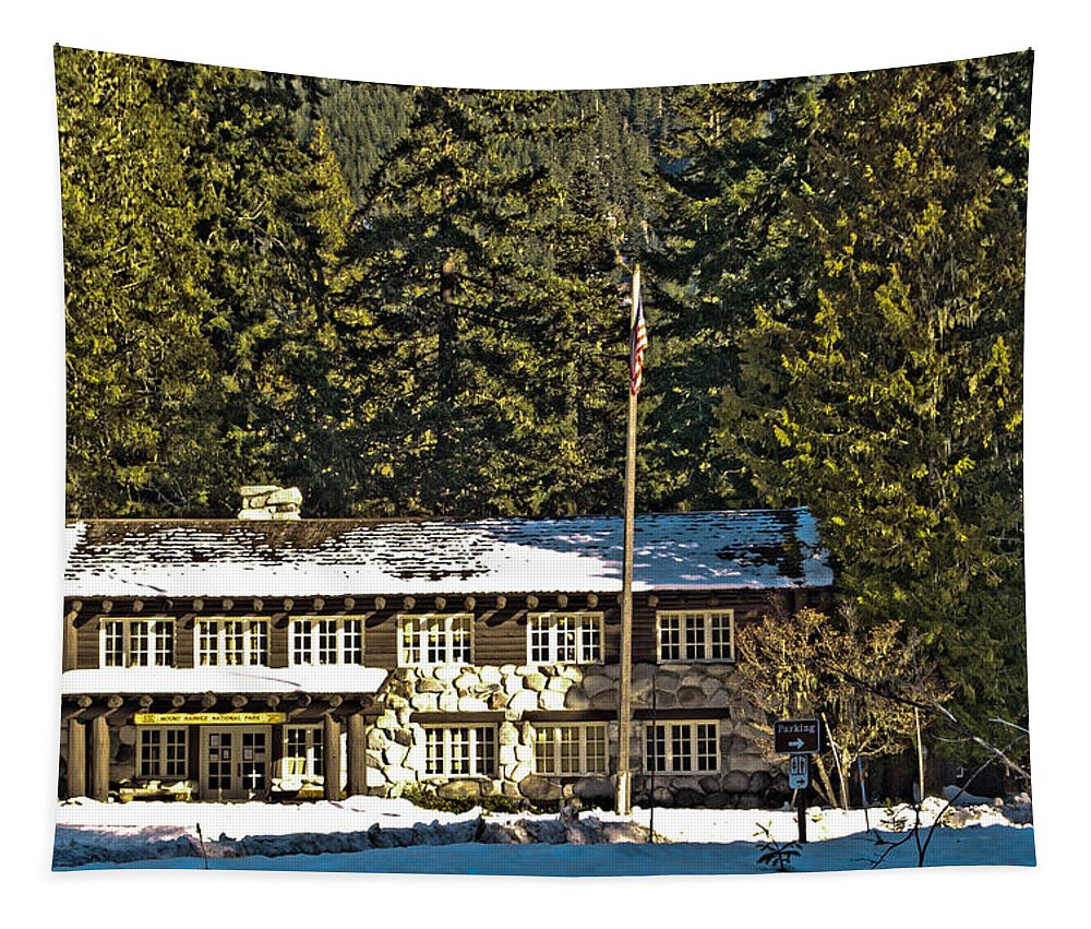 Longmire Tapestry featuring the photograph Ranger's Station by Tikvah's Hope