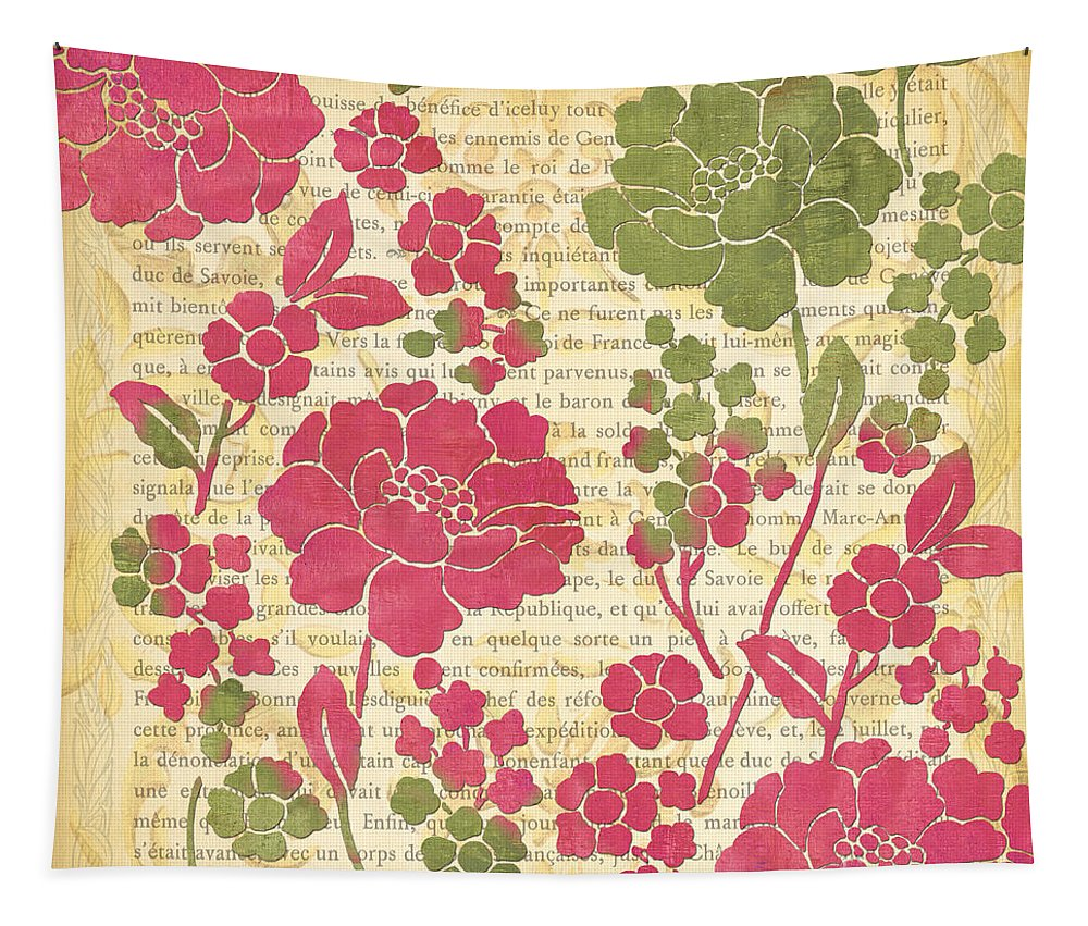 Raspberry Tapestry featuring the painting Raspberry Sorbet Floral 2 by Debbie DeWitt