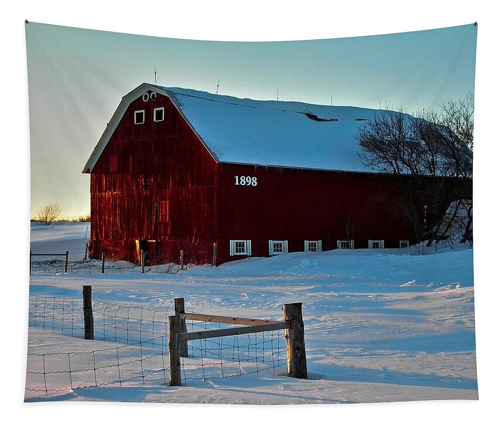 North America Tapestry featuring the photograph Red Barn In Winter ... by Juergen Weiss