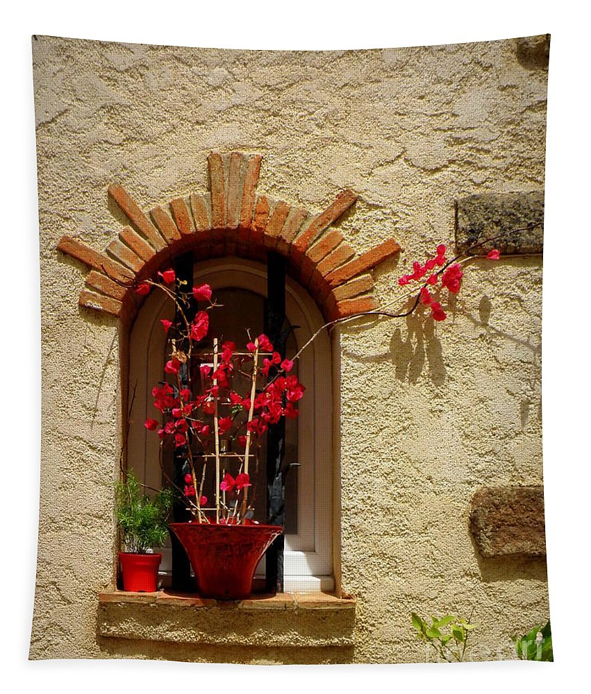 Window Tapestry featuring the photograph Red Bougainvillea In Window by Lainie Wrightson