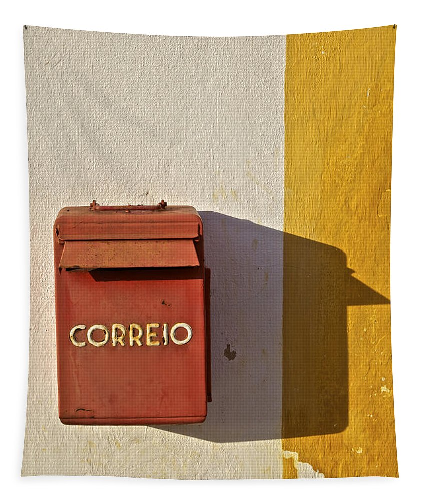 Correio Tapestry featuring the photograph Red Faded Mailbox Of Portugal II by David Letts