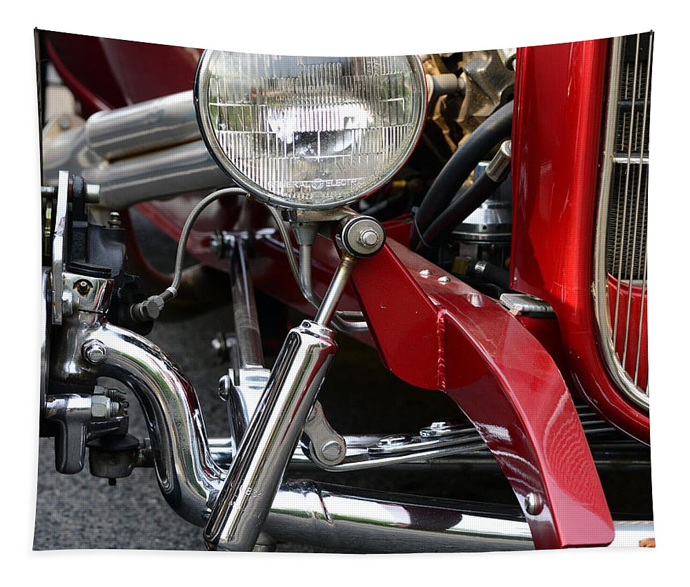 Chrome Tapestry featuring the photograph Red Hot Rod- Light And Chrome by Paul Ward