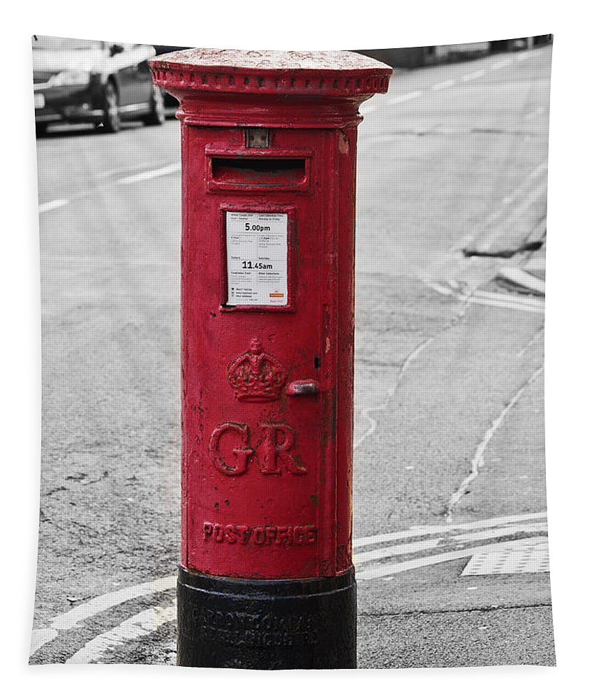 King George V Tapestry featuring the photograph Red King George V Postbox by Steve Purnell