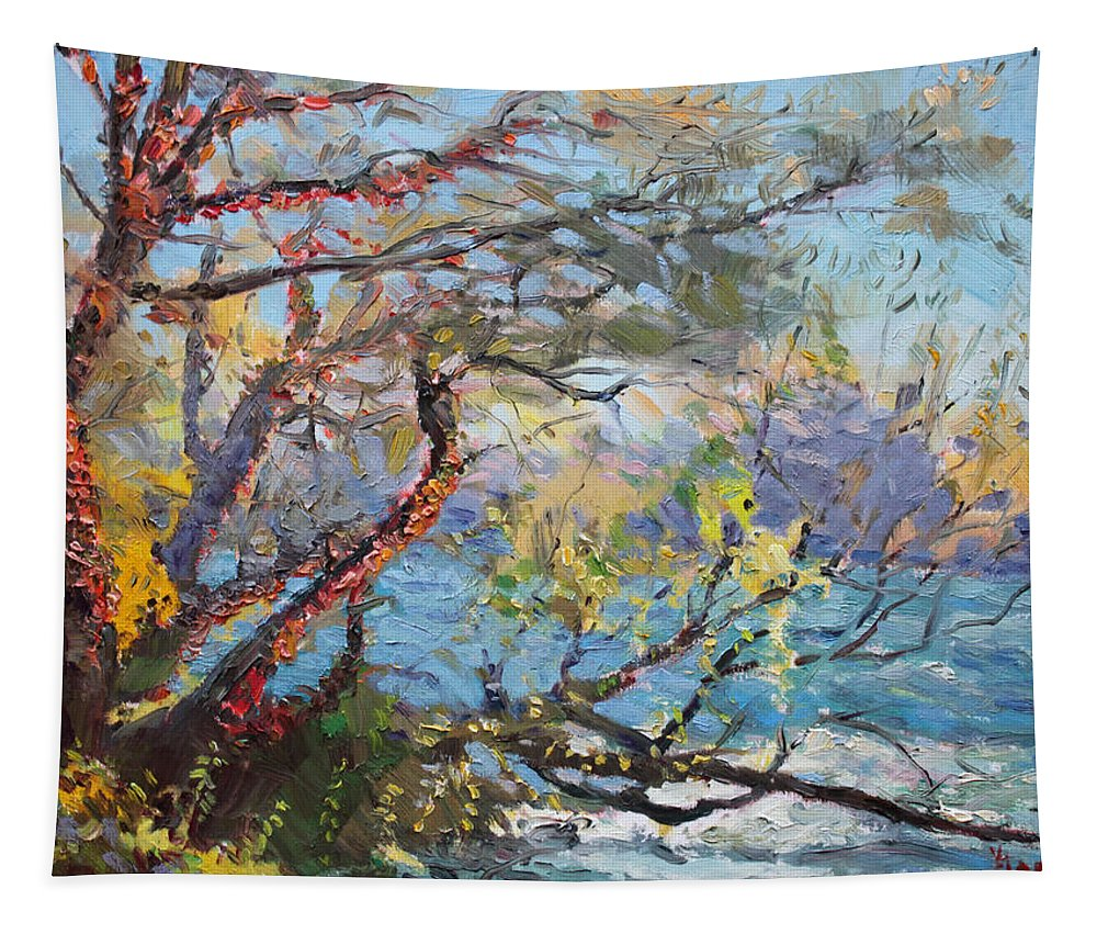 Autumn Tapestry featuring the painting Red Leaves by Ylli Haruni