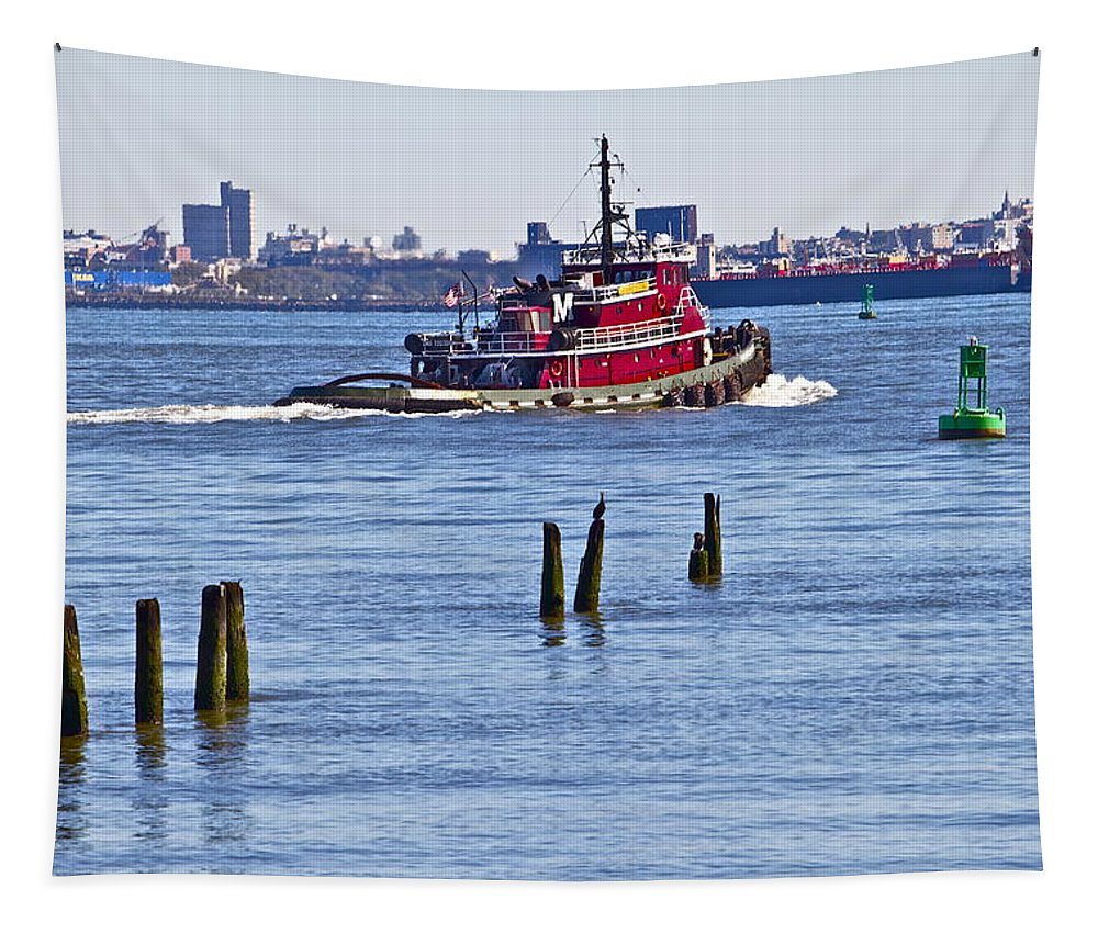Tug Boat Red Staten Island Waterfront Tapestry featuring the photograph Red Tug One by Alice Gipson