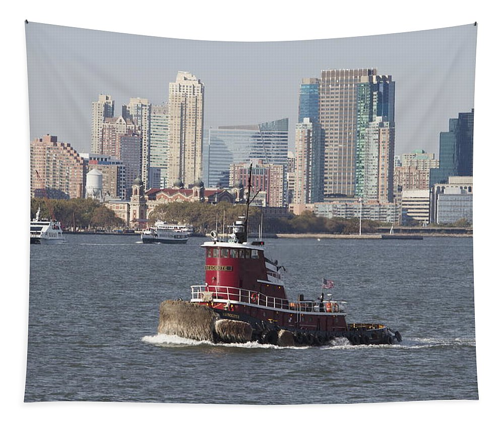 Red Tugboat New York City Skyline Water Tapestry featuring the photograph Red Tug Two by Alice Gipson