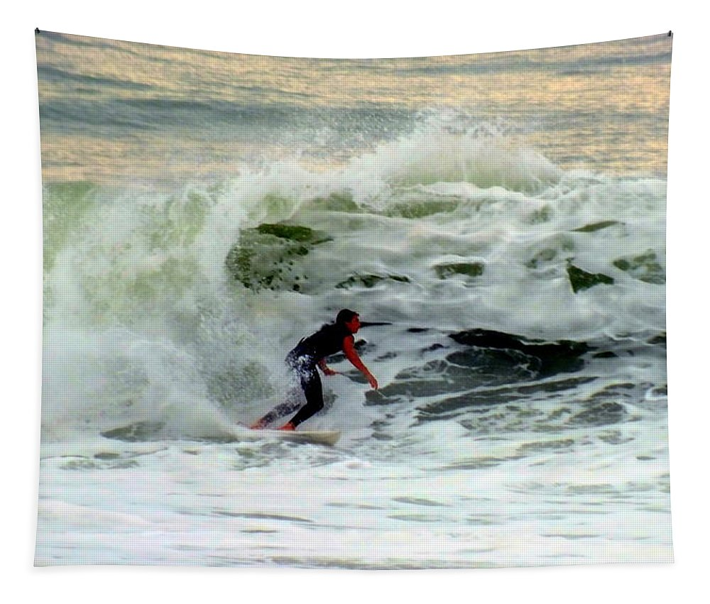 Surfing Tapestry featuring the photograph Riding In Beauty by Karen Wiles