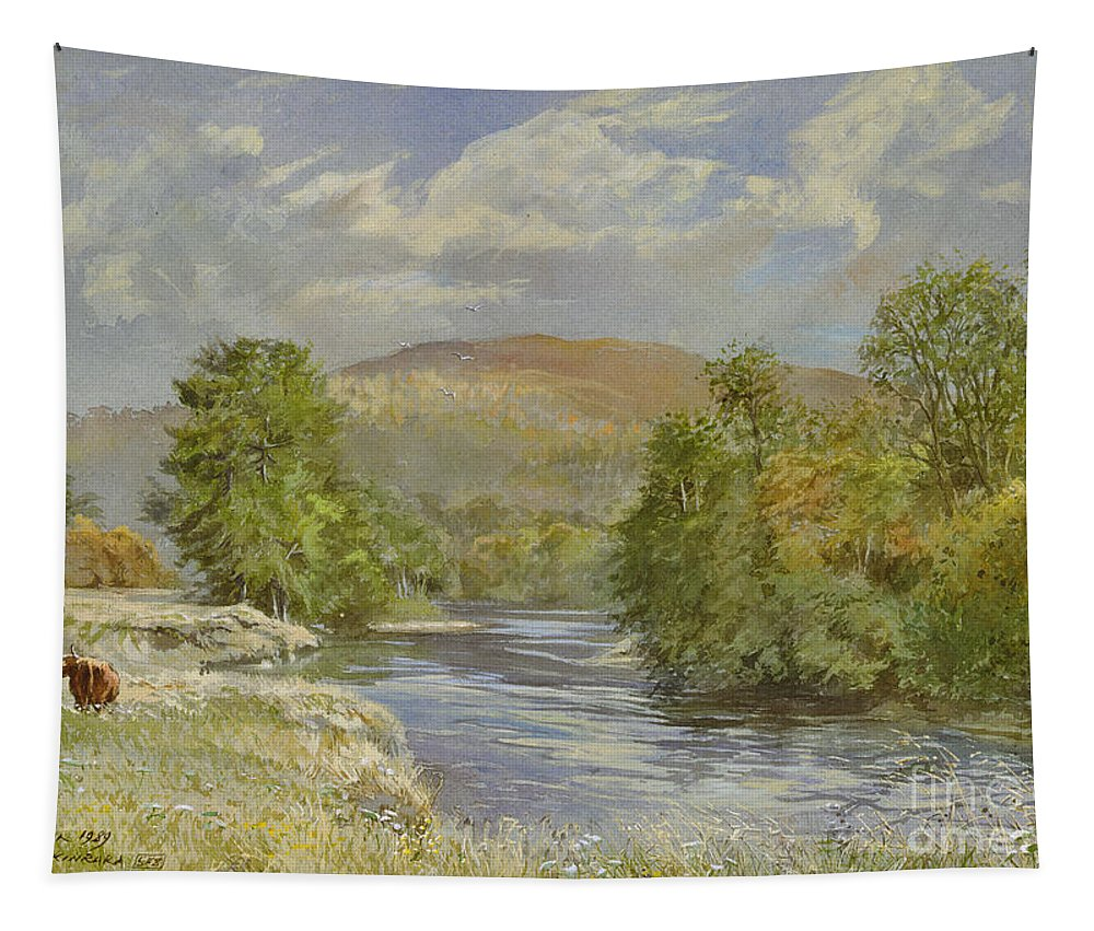 Landscape; River Scene; Highland Cattle; Meadow; Pastoral; Scottish; Hill; Hills; Tree; Trees; River Spey; Kinrara; Bull; Bulls; River; Water; Birds; Blue Sky; Sky Tapestry featuring the painting River Spey - Kinrara by Tim Scott Bolton