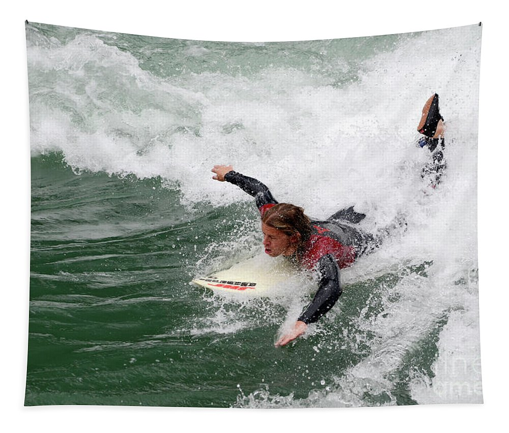 River Tapestry featuring the photograph River Surfing by Bob Christopher