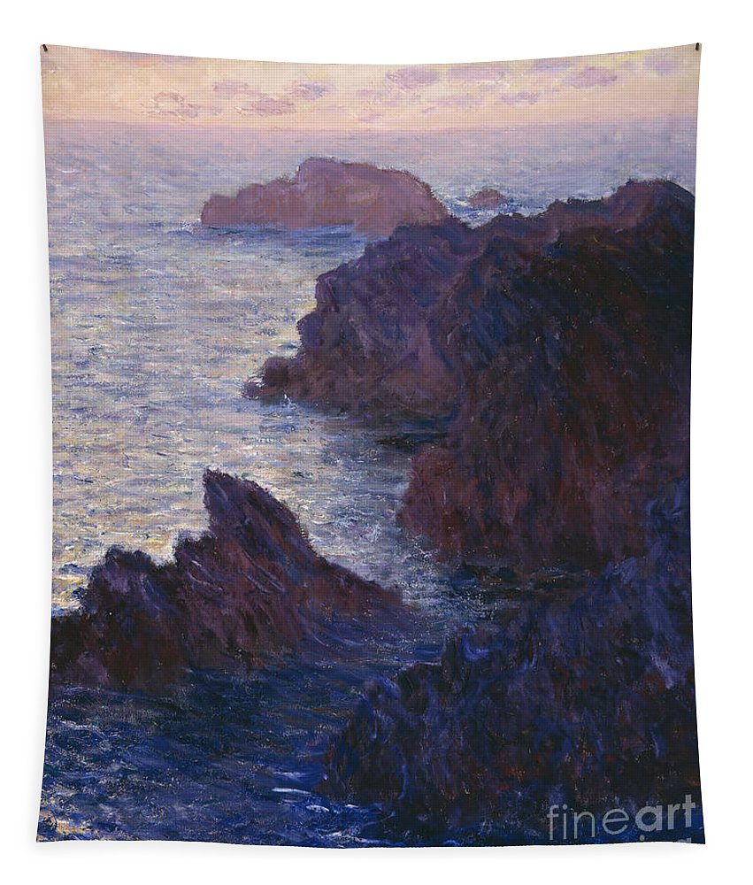 Rocks At Bell-ile Tapestry featuring the painting Rocks At Bell Ile Port Domois by Claude Monet