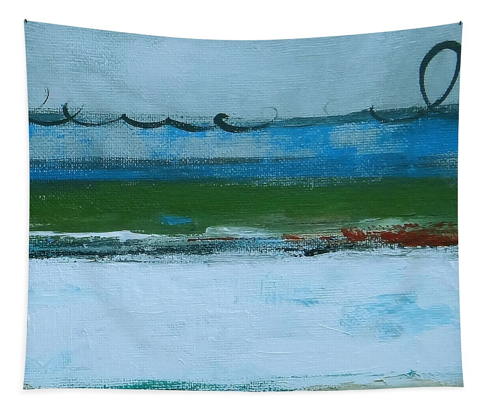 Abstract Tapestry featuring the painting Rolling On The Blue II by Ruth Palmer