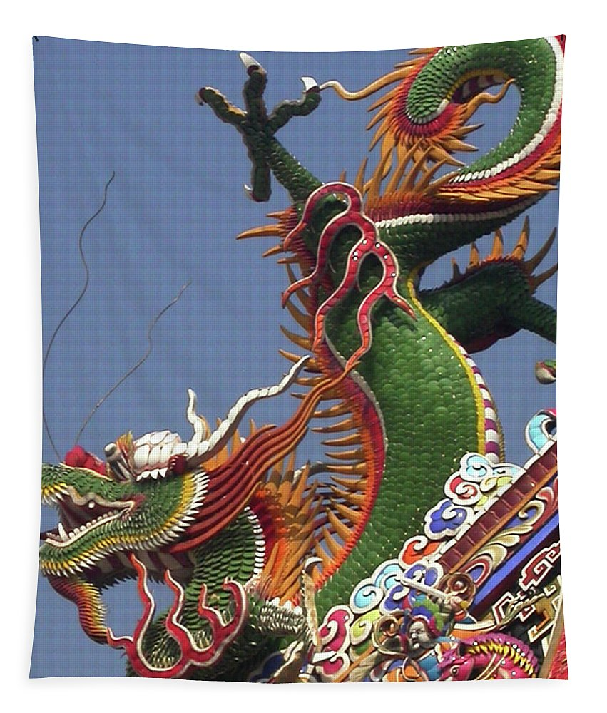 Dragon Tapestry featuring the photograph Roof Dragon by Mary Lane