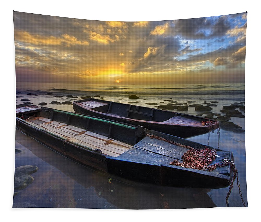 Boats Tapestry featuring the photograph Rowboats At Dawn by Debra and Dave Vanderlaan