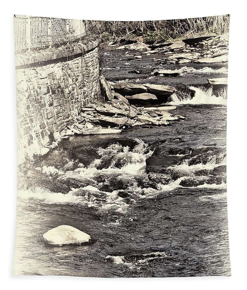 Rushing Water Tapestry featuring the photograph Rushing Water Cream by Steve Purnell